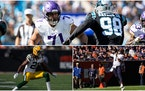 Some of the 2021 draft class beginning to make an impact in the NFC North (clockwise from top): Vikings tackle Christian Darrisaw, Bears quarterback J
