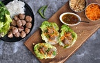 Pork and Lemongrass Meatball Lettuce Wraps.