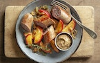 Apples are the perfect foil for spicy, fresh sausages.