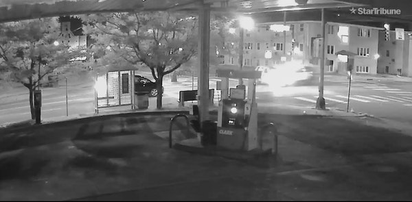 Video surveillance footage shows the moment a Minneapolis police squad slammed into the driver's side of an SUV driven by bystander Leneal Frazier d