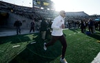 Gophers coach P.J. Fleck ran onto the field at Kinnick Stadium for warmups before his team suffered its first loss of the 2019 season, on Nov. 16.