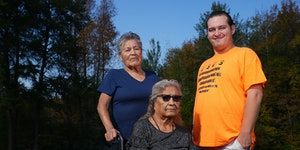 James Clark, a Lead For Minnesota fellow working to preserve the Ojibwe language and culture, with elders Bette Sam, seated, and Shirley Boyd.