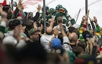 Wild players swarmed Marcus Foligno after his goal Tuesday brought them within 5-4 against Winnipeg at Xcel Energy Center.