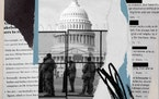 A photo illustration shows a razor wire fence constructed around the U.S. Capitol following the Jan. 6, riot by supporters of former President Donald