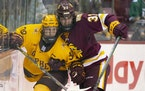 Gophers forward Ben Meyers and Minnesota Duluth forward Casey Gilling collide along the boards behind the net during the second period