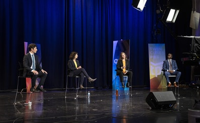 """Minneapolis mayoral candidates Jacob Frey, Sheila Nezhad, Kate Knuth and AJ Awed debated during a filming of TPT's """"Almanac"""" in St. Paul on Frid"""