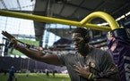 Stephen Weatherly warmed up before a preseason game in August at U.S. Bank Stadium.