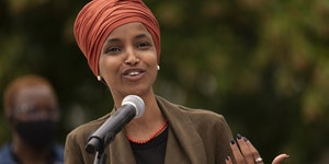 U.S. Rep. Ilhan Omar, D-Minn., spoke during a news conference outside the Democratic-Farmer-Labor Party headquarters on Aug. 5, 2020, in St. Paul. She