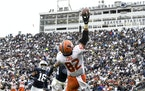 Illinois tight end Luke Ford (82) reaches for a pass that fell incomplete as Penn State safety Ji'Ayir Brown (16) looks on during overtime