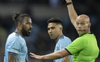 Romain Metanire of Minnesota United FC received a red card on Oct. 20 and was ejected.