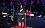Vanessa Bryant spoke at the tribute to Kobe and Gianna Bryant at Staples Center in Los Angeles on Feb. 24, 2020.