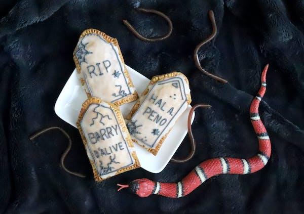 "Mini Pumpkin Pie Gravestones is among the 80 recipes in ""Spooky Food."""