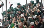 Wild players and fans along the boards celebrate following an overtime goal by Ryan Hartman against the Ducks