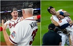 (Left) The Braves' Joc Pederson celebrated with pitching coach Rick Kranitz after a clinching NLCS Game 6 win against the Dodgers. (Right) Carlos Co