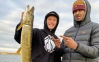 Luke Loewe and Gophers basketball teammate Eric Curry went fishing together this fall. Loewe, a transfer from William & Mary, has aspirations of fishi