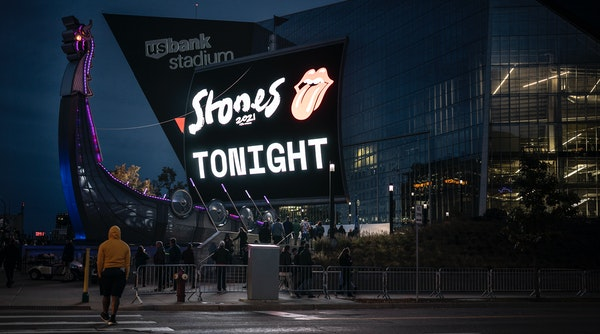 Fans entering the U.S. Bank Stadium in Minneapolis Sunday for the Rolling Stones concert.