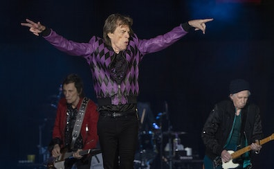 """Mick Jagger, Ronnie Wood, left, and Keith Richards with drummer Steve Jordan performed Sunday at U.S. Bank Stadium. One fan called the event """"a very"""