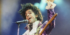 FILE - In this Feb. 18, 1985 file photo, Prince performs at the Forum in Inglewood, Calif. The music icon died of an accidental opioid overdose at his