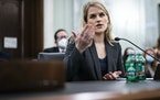 Former Facebook employee and whistleblower Frances Haugen testifies before a Senate committee on Oct. 5. Haugen left Facebook in May and provided inte