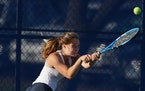 Senior Ellie Pirtle (shown in 2020) and Breck weathered a stiff schedule including several Class 2A girls' tennis teams that helped the Mustangs qua