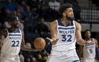 Karl Anthony-Towns (32) reacts after being called for a foul in the second quarter Monday, Oct. 25 at Target Center in Minneapolis.