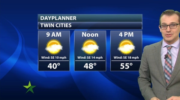 Morning forecast: Mostly sunny, windy; high 55