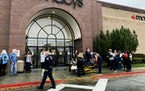 Police and emergency crews respond to a reported shooting at the Boise Towne Square shopping mall Monday, Oct. 25, 2021, in Boise, Idaho.