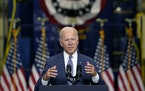 "President Joe Biden delivers remarks at NJ Transit Meadowlands Maintenance Complex to promote his ""Build Back Better"" agenda, Monday, Oct. 25, 202"