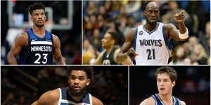 (Clockwise from top left) Jimmy Butler, Kevin Garnett, Christian Laettner and Karl-Anthony Towns are on Michael Rand's list of the Top 25 Timberwolv