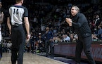 Timberwolves head coach Chris Finch reacted after a foul call in the fourth quarter Monday.