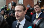 Facebook CEO Mark Zuckerberg leaves a hotel in Dublin after a meeting with politicians to discuss regulation of social media and harmful content on Ap