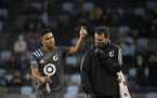 Minnesota United midfielder Emanuel Reynoso (10) gave a thumbs up to fans after leaving the Loons' 1-0 victory over Vancouver on May 12 at Allianz F