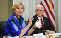 Dr. Deborah Birx held a 3M N95 mask on a March 2020 visit to 3M headquarters in Maplewood with Vice President Mike Pence.