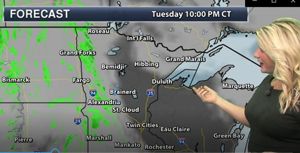 Evening forecast: Low of 44; cloudy, breezy late with a couple of showers near dawn