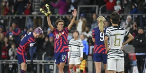 USWNT forward Carli Lloyd acknowledged fans as she left the field during the second half of an international friendly Tuesday in St. Paul.