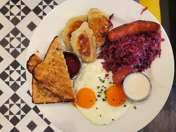 Pierogi, eggs and sausage at the new Buttered Tin bakery and restaurant in northeast Minneapolis.