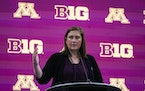 Minnesota women's head coach Lindsay Whalen speaks during the Big Ten NCAA college basketball media days in Indianapolis earlier this month.