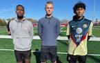 Worthington soccer captains Menkem Mehri, Isaiah Noble and Ulises Barrera.