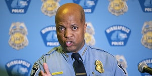 Minneapolis Police Chief Medaria Arradondo addresses the media regarding the proposed charter amendment that would replace the police department, duri