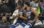 Wolves stars Anthony Edwards (left) and Karl-Anthony Towns have the approval of coach Chris Finch to make plays within the offense, but Finch said the