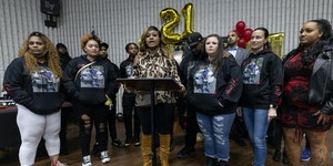 Toshira Garraway spoke alongside Aubrey and Katie Wright the parents of Daunte Wright during a news conference at a 21st birthday party for their son