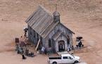 This aerial photo shows a film set at the Bonanza Creek Ranch in Santa Fe, N.M., Saturday, Oct. 23, 2021.