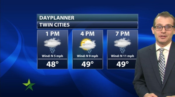 Afternoon forecast: Off-and-on showers, high 50