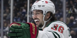 Mats Zuccarello celebrated after scoring for the Wild in Tuesday's 3-1 victory in Vancouver.