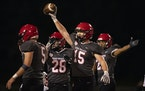 Eden Prairie Eagles Adam Mertens (15) came up with a first half fumble recovery Thursday, Oct. 21, 2021 in Eden Prairie, Minn. The Eden Prairie Eagles